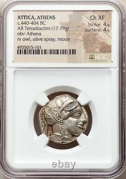 Attica Athens Greek Owl Silver Tetradrachm Coin (440-404 Av. J.-c.) Ngc Ch Xf 4/5 4/5
