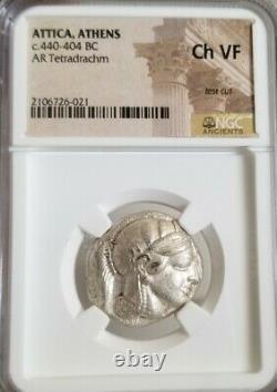 Attica, Athens Tetradrachm Ngc Choice Vf Ancient Silver Coin With Crest