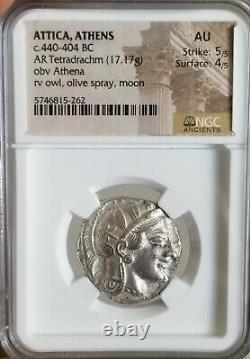 Attique, Athena Tetradrachm Avec Hibou Ngc Au Ancient Silver Coin Belle Crête