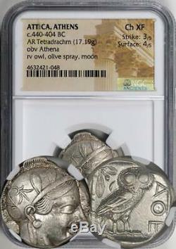 Attique Athènes Antique 440-404 Athena Bc Owl Tetradrachm Classé Par Ngc Comme Ch Xf