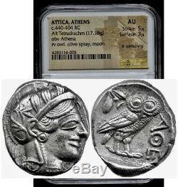 Attique Athènes Chouette Grecque Argent Tétradrachme Pièce (440-404 Av. Jc) Ngc Au 5 + 3