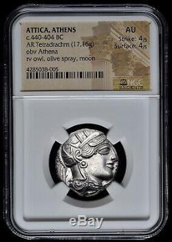 Attique Athènes Grec Chouette Tétradrachme D'argent Coin (440-404 Bc) Ngc Au 4/5 4/5