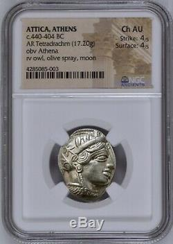 Attique Athènes Grec Chouette Tétradrachme D'argent Coin (440-404 Bc) Ngc Ch Au 4/5 4/5