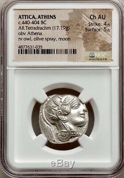 Attique Athènes Grec Chouette Tétradrachme D'argent Coin (440-404 Bc) Ngc Ch Au 4/5 5/5