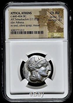 Attique Athènes Grec Chouette Tétradrachme D'argent Coin (440-404 Bc) Ngc Ch Au 5/5 4/5