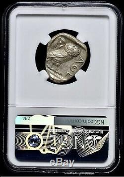 Attique Athènes Grec Chouette Tétradrachme D'argent Coin (440-404 Bc) Ngc Choice Au 4 + 5