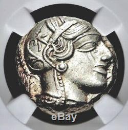 Attique Athènes Grec Owl Argent Ar Tetradrachm Coin (440-404 Bc) Ngc Au 4/5 4/5
