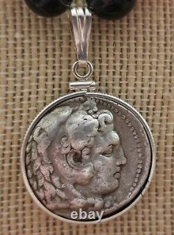 Authentique Tétradrachme D'argent Ancien Coin D'alexandre Le Grand Collier De Corail