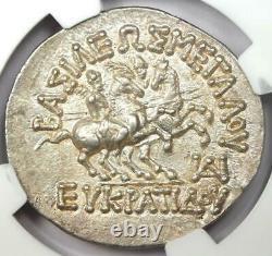 Bactria Eucratides I Ar Tetradrachm Silver Coin 170-145 Bc Ngc Choice Au
