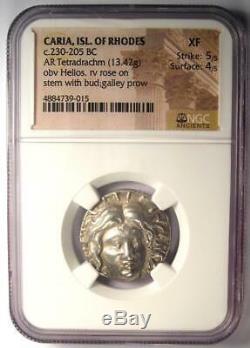 Carie Rhodes Grec Ar Tetradrachm Monnaie Rose Helios 230-205 Bc Certifié Ngc Xf