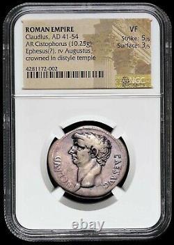 Claudius Ephèse Ar Cistophorus (tétradrachme Cistophorique D'argent) Pièce Romaine Ngc