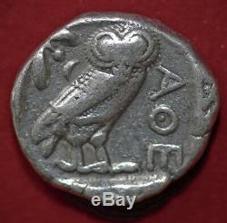 Coin Grec Ancien Attique Athena Et Owl Tétradrachme D'argent