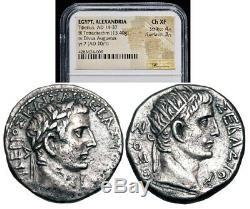 Empire Romain, Egypte, Tiberius (ad 14-37) Divus Augustus. Tétradrachme Ngc Ch Xf