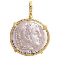 Grec Ancien Coin Alexandre Le Grand Tétradrachme D'argent En Or 18 Kt Pendentif