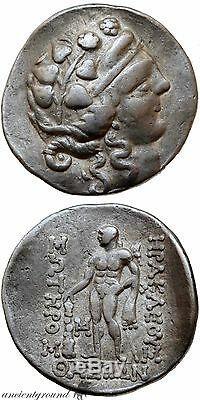 Grec Ancien Coin Thasos Thrace Tétradrachme D'argent Hercules Dionysos Coi
