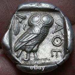 Grec Ancien Monnaie Tétradrachme D'argent Attique Athènes Owl C. 430-420 Bc
