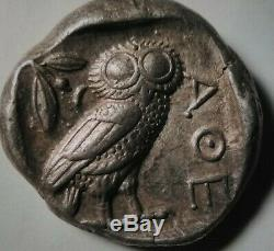 Grèce Antique Athéna Owl 454 Av. Attique Athènes Superbe Tetradrachm Silver Coin