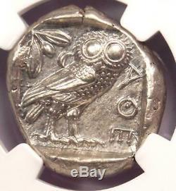 Grèce Antique Athènes Athena Owl Tetradrachm Coin (440-404 Bc) Ngc Choice Au