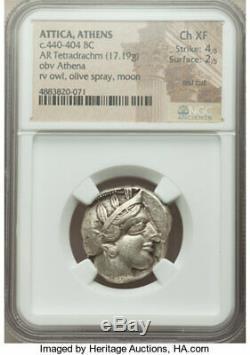 Greek Attique Athènes, Ar Tetradrachm (24mm, 17,19 G). Ngc Choix Xf 4/5 2/5