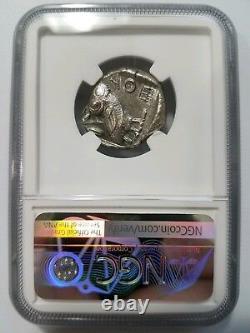 Greek Owl Attica Athènes Bc Ngc Ch Au Ancient Tetradrachm Olive Spray Lune Athena