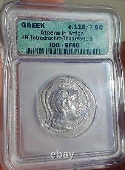 Icg Ancienne Pièce Grecque Athènes Hibou Nouveau Style Argent Tétradrachme 118 Av. J.-c.