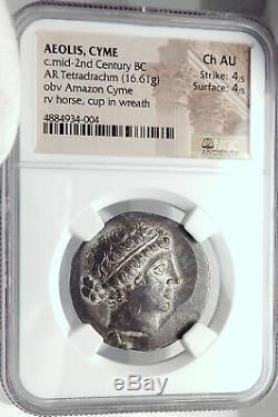 Kyme Dans Aeolis Ancien 155bc Argent Grec Tétradrachme Monnaie Amazon Ngc Au I82353