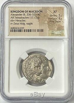 Macédoine Alexandre Le Grand 336-323 Bc Tétradrachme D'argent Ngc Xf Fin De Style
