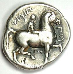 Macedon Philippe II Ar Tetradrachm Zeus Silver Coin 359-336 Bc Fine / Vf