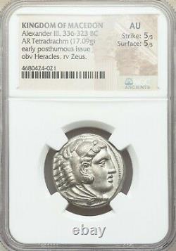 Macédonien Alexandre III Le Grand 336-323 Av. J.-c. Tetradrachm Silver Coin Ngc Au