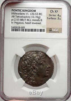 Mithradates, 87bc Pontus Authentique Monnaie Grecque Antique En Argent Certifié Ngc Ch Xf