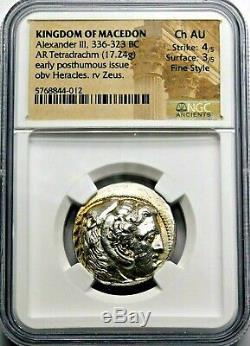 Ngc Ch Au 4 / 5-3 / 5 Fin De Style. Alexandre Le Grand Tétradrachme Grec Silver Coin