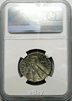 Ngc Ch Xf. Cléopâtre III Ptolémée Ix. Tétradrachme. Grecque Silver Coin D'egypte