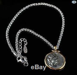 Or Antique Jaune 18k Argent Roman Tetradrachm Phoenicia Coin Collier Chaîne
