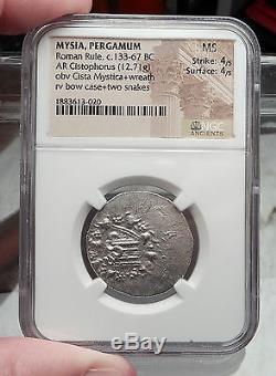 Pergamon In Mysia Argent Tétradrachme Serpents Pièce De Monnaie Grecque Ms Certifiée Ngc I58611