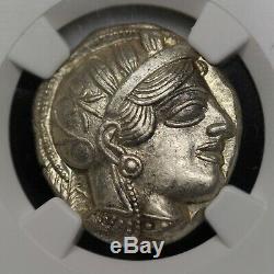 Pièce De Monnaie En Tétradrachme En Argent Avec Hibou Grec Antique D'athènes (440-404 C.) Ngc Ms