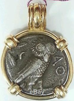 Pièce De Monnaie Grecque Antique Tétradrachme Hibou Monté En Pendentif En Or 14k Pièce Rare