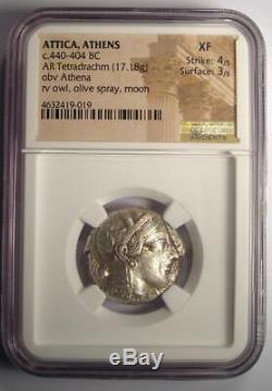 Pièce De Tétradrachme Athena Owl De La Grèce Antique Athènes (440-404 Av. J.-c.) Ngc Xf