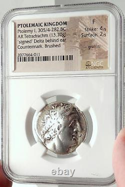Ptolemy I Soter Authentic Ancient 305bc Argent Grec Tetradrachm Coin Ngc I68283