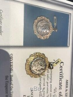 Rare Authentique Certifié Or Tubé Argent Antique Romaine Tetradrachm 1/2 Bc