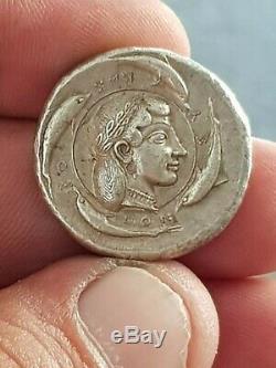 Rare Grec Ancien Tétradrachme D'argent Sicile Syracusem 480-475 Bc. Gr 15,7. 26 MM