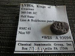 Rarissime Lydia Rois De Crésus 560-546 Bc Half Starter Lion / Vf Bull 5.28g