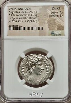 Roman Empire, Syria Antiocn, Auguste 27 Bc-14 Ad Ar Tetradrachm Ngc Ch Xf 4 + 3