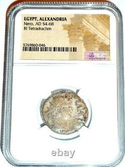 Roman Nero Alexandria Bi Tetradrahm Coin Ngc Certifié Avec Histoire, Certificat