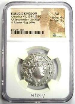 Seleucid Antiochus VII Ar Tetradrachm Coin 138-129 Bc Certifié Ngc Au Rare