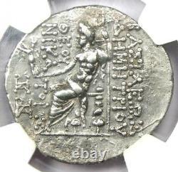 Séleucide Démétrius II Ar Tetradrachm Zeus Nike Coin 129-125 Av. Certifié Ngc Xf