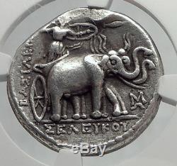 Seleukos I Seleukid Tetradrachm Ngc Éléphants Certifiés Pièce Grecque En Argent I64228