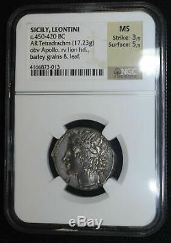 Sicile Leontini 450-420bc Tétradrachme D'argent Ngc Ms Grèce Antique Apollo Lion