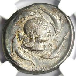 Sicile Syracuse Ar Tetradrachm 480 Av. J.-c. (nike, Arethusa, Dauphins) Ngc Choice Xf