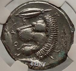 Sicily Leontini 450 Bc Authentique Pièce De Monnaie Grecque Antique En Argent Ngc Certifiée Ch. Xf