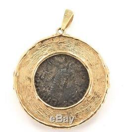 Superbe 14k Ancienne Pièce De Monnaie Pendentif Coa 35bc 5ad Azes II Tétradrachme D'argent